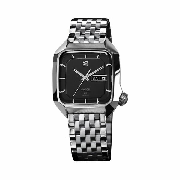 Montre March L.A.B AM2 Electric Black - Bracelet en acier 7 maillons