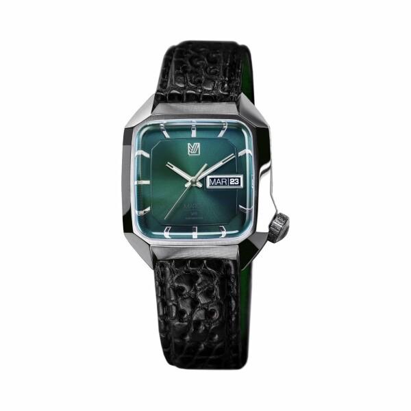 Montre March L.A.B AM2 Electric - Forest - Bracelet en alligator perforé noir