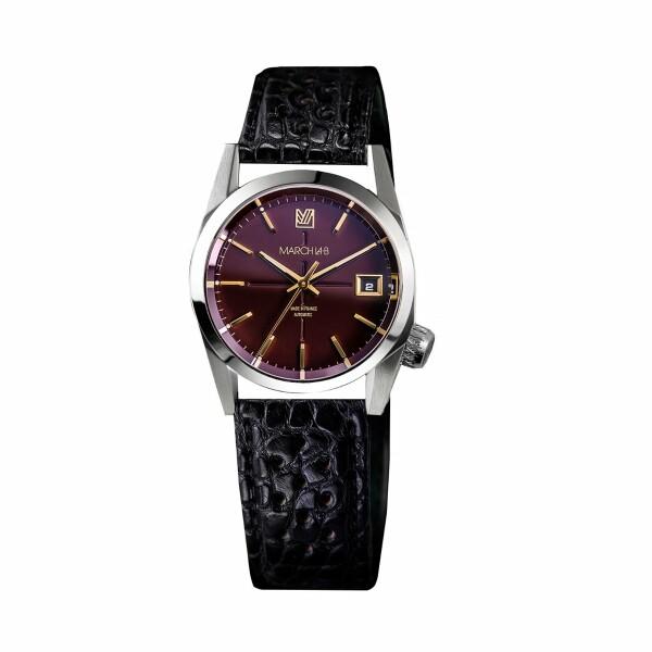 Montre March L.A.B AM69 Automatic Bordeaux - Bracelet en alligator noir perforé