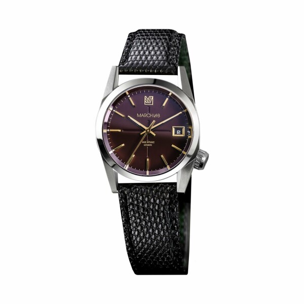 Montre March L.A.B AM69 Automatic Bordeaux - Bracelet lezard noir