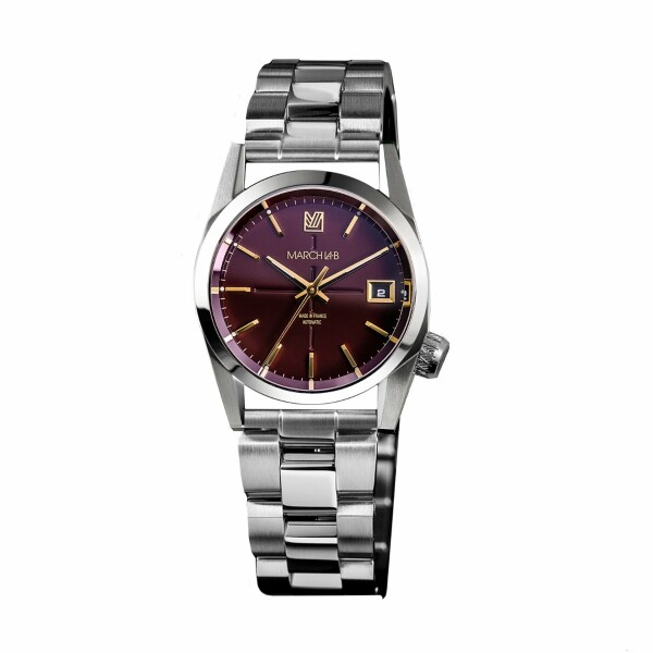 Montre March L.A.B AM69 Automatic Bordeaux - Bracelet en acier 3 maillons
