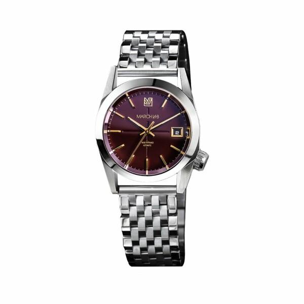 Montre March L.A.B AM69 Automatic Bordeaux - Bracelet en acier 7 maillons