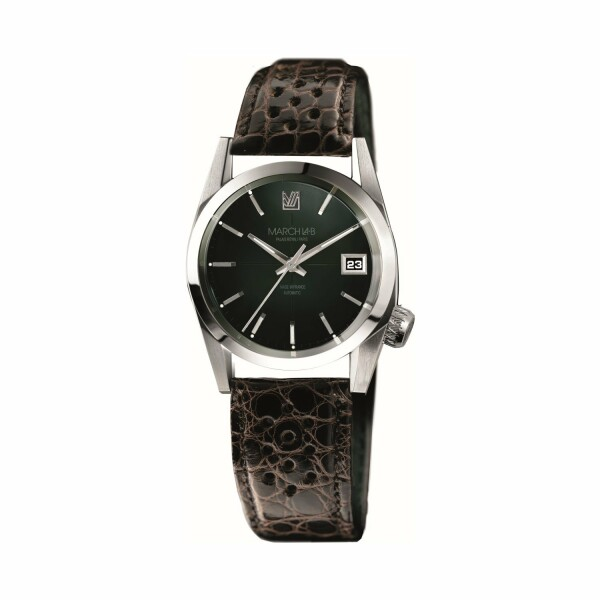 Montre March L.A.B AM69 Automatic - Grall - Bracelet en alligator perforé moka
