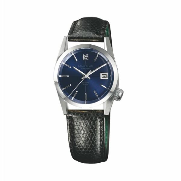 Montre March L.A.B AM69 Automatic - Navy - Bracelet en Lézard noir