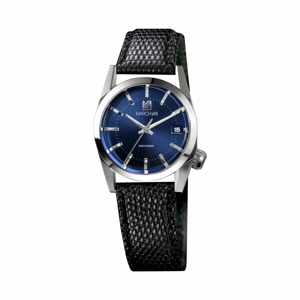 Montre March L.A.B AM69 Electric Ocean - Bracelet en buffle perforé noir