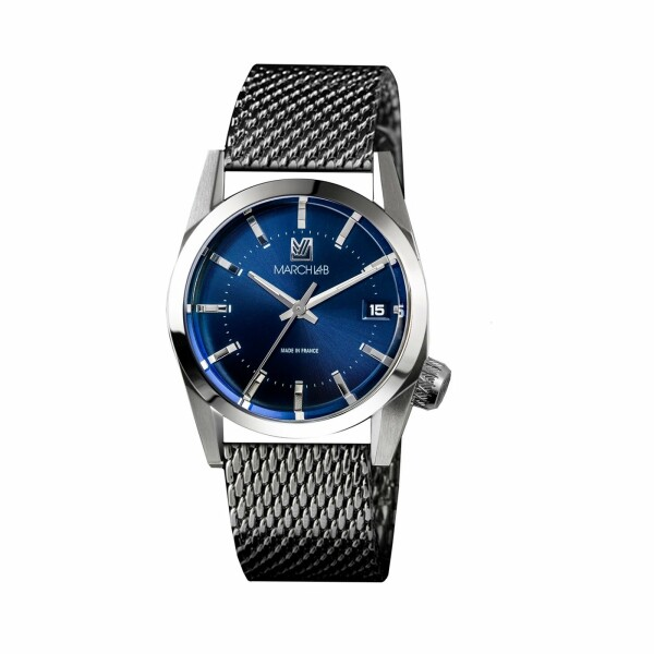 Montre March L.A.B AM69 Electric Ocean - Bracelet en maille milanaise