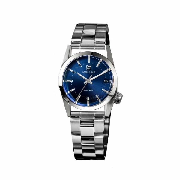 Montre March L.A.B AM69 Electric Ocean - Bracelet en acier 3 maillons