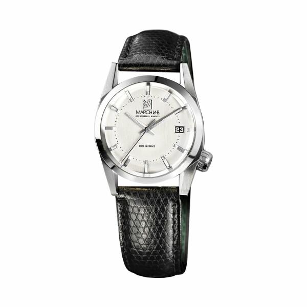 Montre March L.A.B AM69 Electric - Steel - Bracelet en Lézard noir