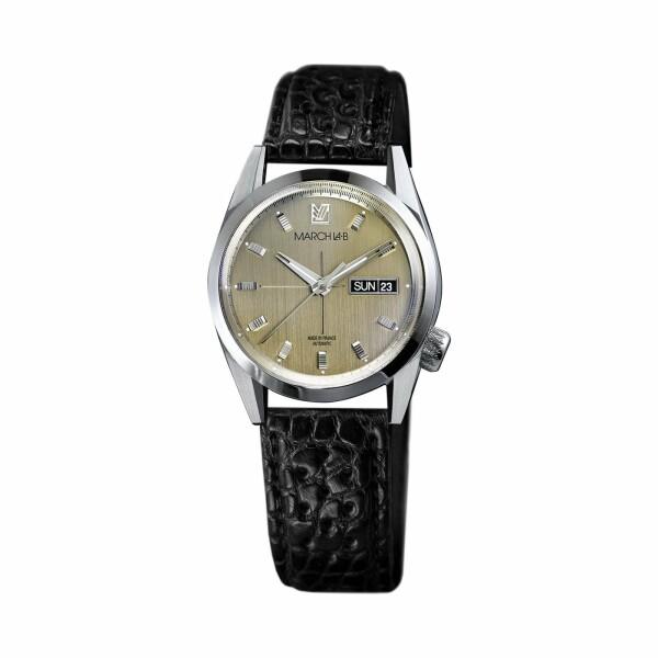 Montre March L.A.B AM89 Automatic - Magnum - Bracelet en alligator perforé noir
