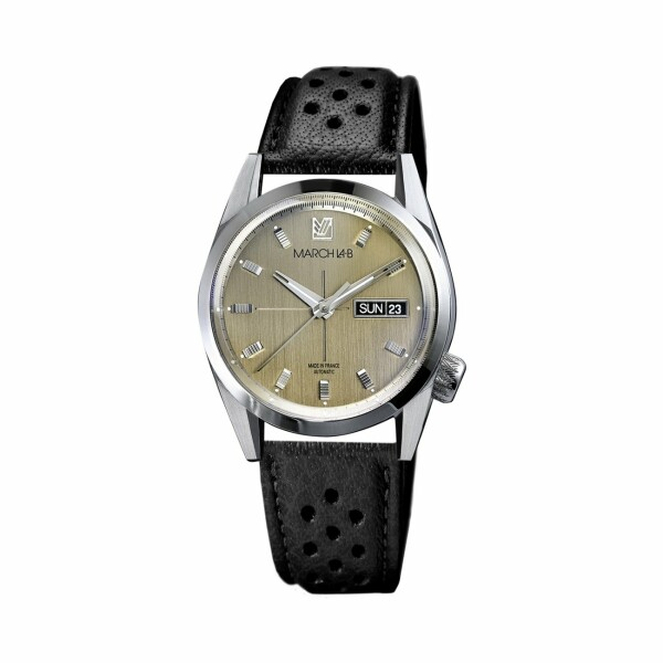 Montre March L.A.B AM89 Automatic - Magnum - Bracelet en buffle perforé noir