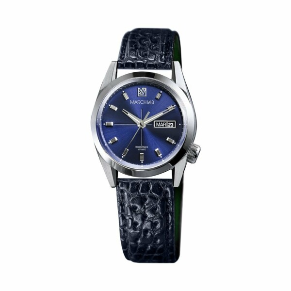 Montre March L.A.B AM89 Automatic - Ocean - Bracelet en alligator perforé bleu