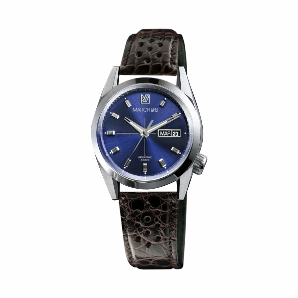 Montre March L.A.B AM89 Automatic - Ocean - Bracelet en alligator perforé moka
