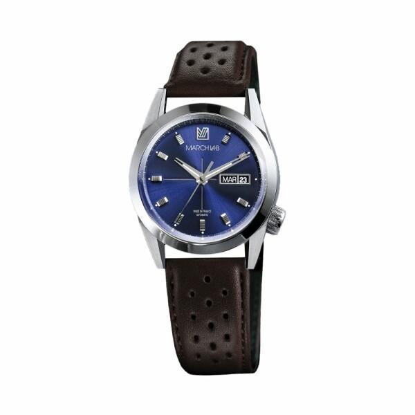 Montre March L.A.B AM89 Automatic - Ocean - Bracelet en buffle perforé marron