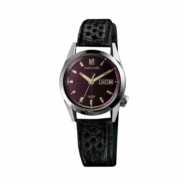 Montre March L.A.B AM89 Automatic Private Bordeaux - Bracelet en alligator noir perforé