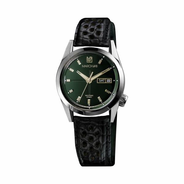Montre March L.A.B AM89 Automatic Private Emerald - Bracelet en alligator noir perforé