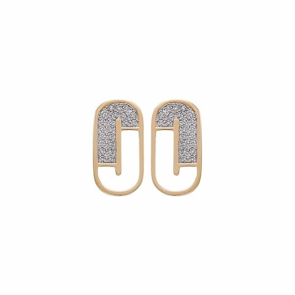 Boucles d'oreilles Jourdan Bijoux Julia en argent plaqué or jaune et oxyde de zirconium