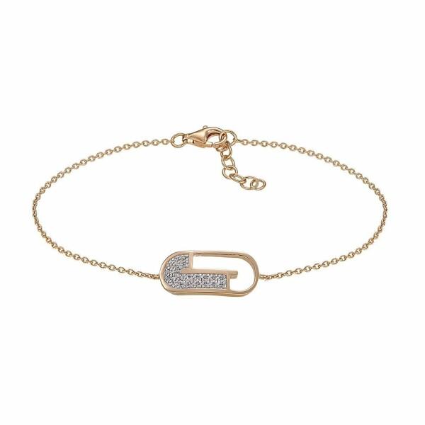 Bracelet Jourdan Bijoux Julia en argent plaqué or jaune et oxyde de zirconium