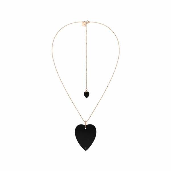 Collier GINETTE NY ANGELE en or rose et onyx