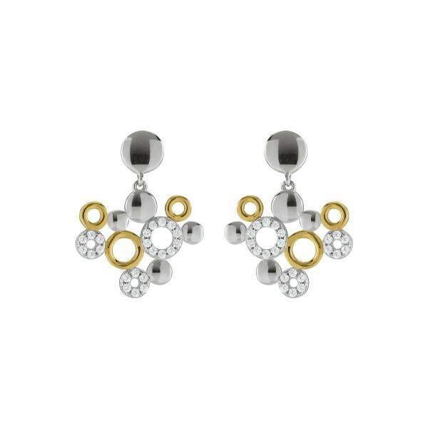Boucles d'oreilles Jourdan Bijoux Zao en argent, plaqué or jaune et oxyde de zirconium