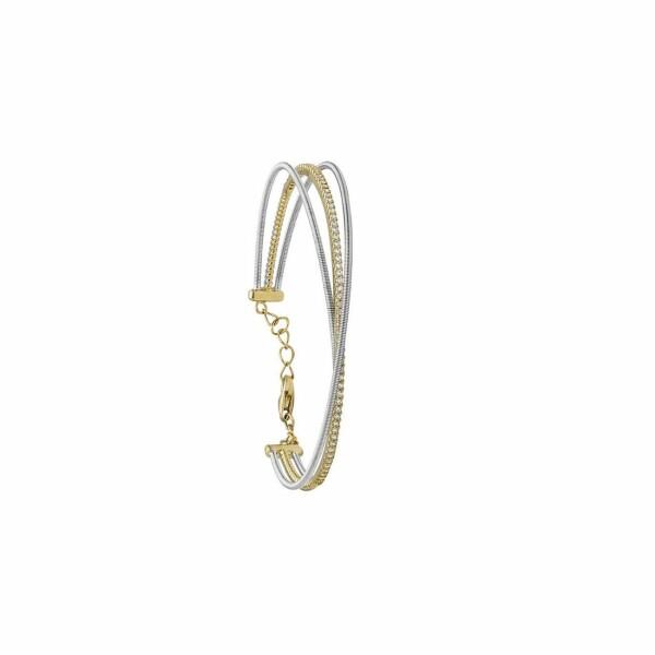 Bracelet Jourdan Bijoux Adagio en argent, plaqué or jaune et oxydes de zirconium