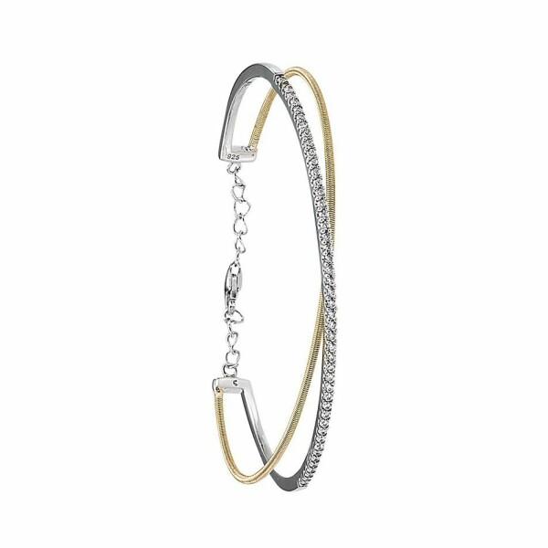 Bracelet Jourdan Bijoux Adagio en argent, plaqué or jaune et oxyde de zirconium