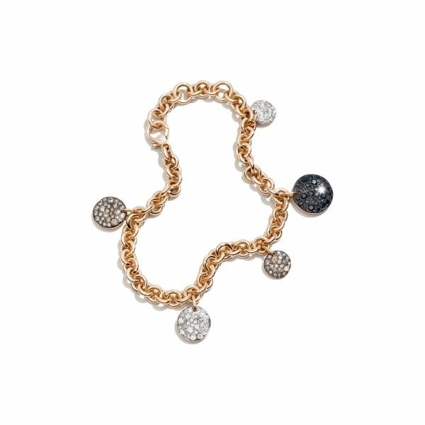 Bracelet Pomellato Sabbia en or rose bruni et rhodié, diamants blancs, diamants bruns et noirs