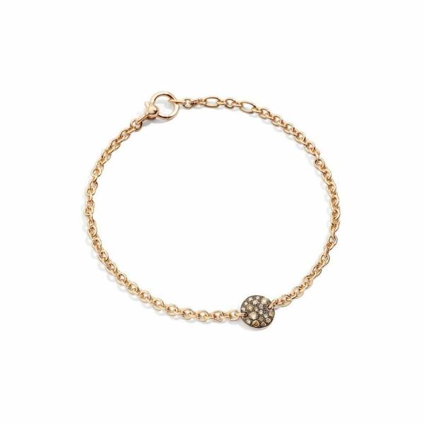 Bracelet Pomellato Sabbia en Or rose et Diamant brun longueur 19.5cm