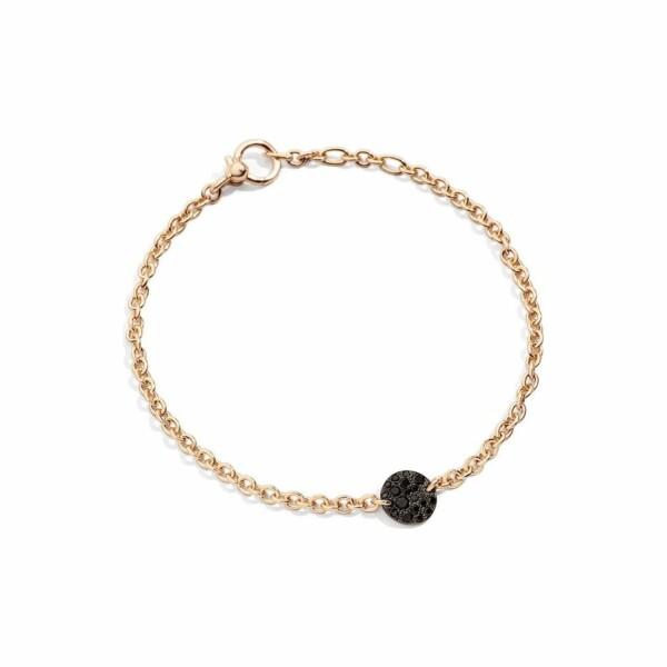 Bracelet Pomellato Sabbia en or rose et diamants noirs