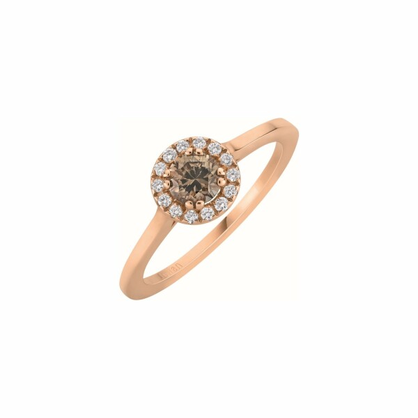 Bague solitaire diamant chocolat entourage pavé de diamants blancs en or rose