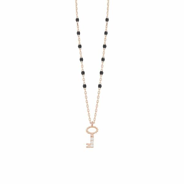 Collier Gigi Clozeau Clé en or rose, résine noire et diamants