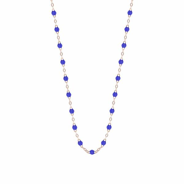 Collier Gigi Clozeau en or rose et résine bleu de prusse, taille 42cm