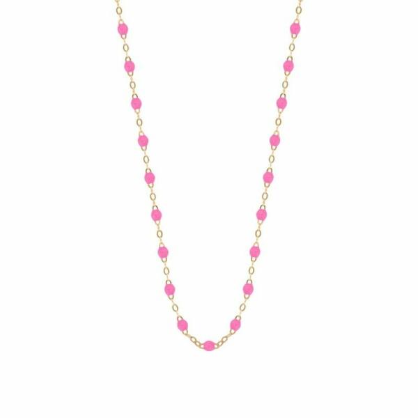 Collier Gigi Clozeau en or rose et résine rose fluo, 50cm
