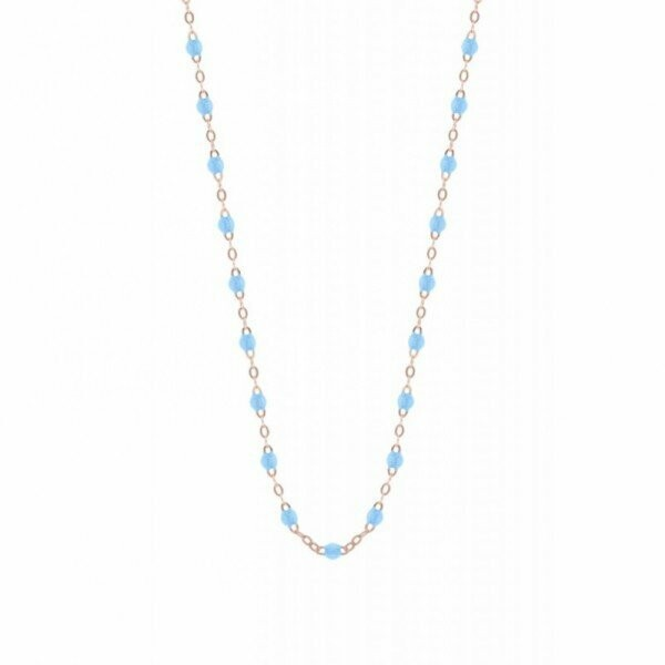 Collier Gigi Clozeau en or rose, résine turquoise, taille 50cm