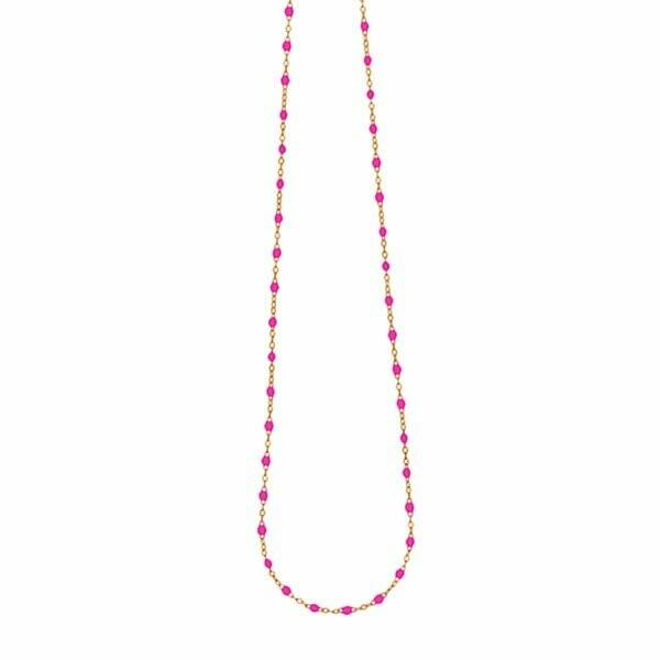 Collier Gigi Clozeau en or rose, résine rose bonbon, taille 42cm