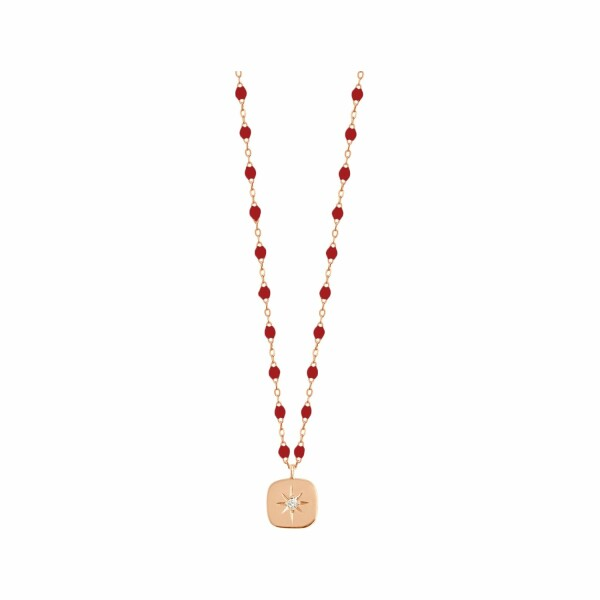 Collier Gigi Clozeau Miss Gigi en or rose, résine rouge rubis et diamants, taille 42cm