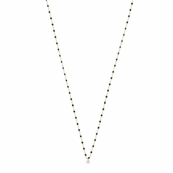 Collier Gigi Clozeau Mini en or rose, résine noire et diamant