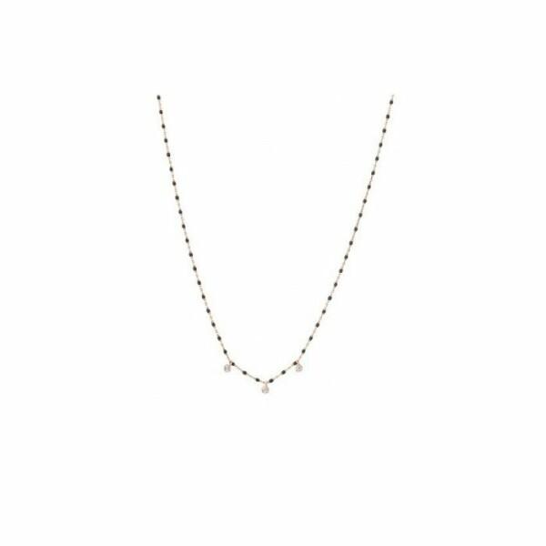Collier Gigi Clozeau Mini en or rose, résine noire et diamants, taille 39cm
