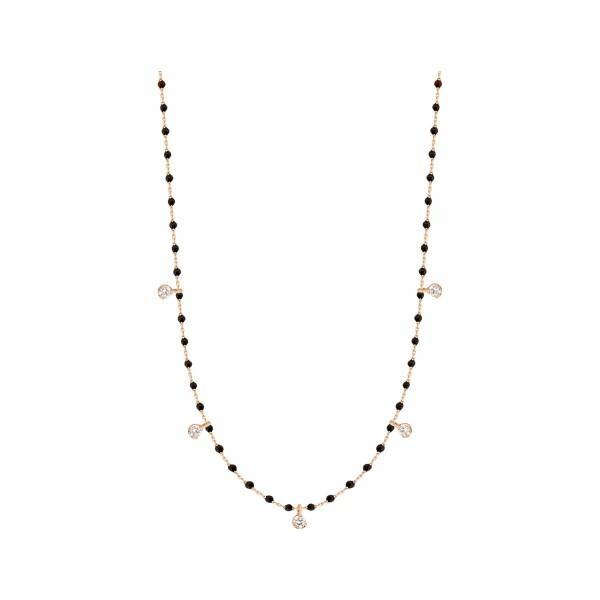 Collier Gigi Clozeau en or rose, résine noire et diamants, taille 55cm