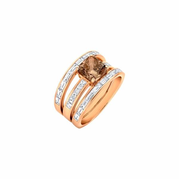 Bague 3 anneaux diamant chocolat taille radiant, sertie de diamants blancs tailles baguette et princesse en or rose