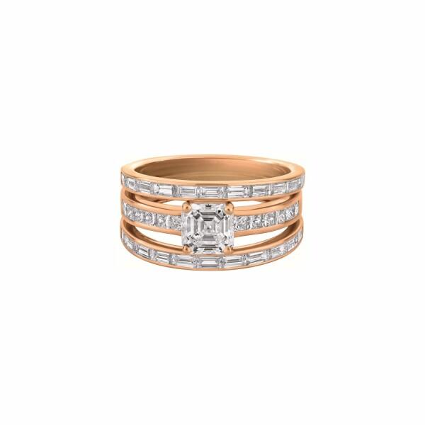 Bague 3 anneaux diamant taille radiant, sertie de diamants blancs tailles baguette et princesse en or rose