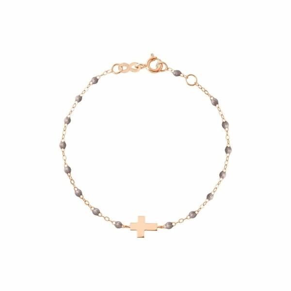 Bracelet Gigi Clozeau Croix en or rose, résine gris souris, taille 17cm