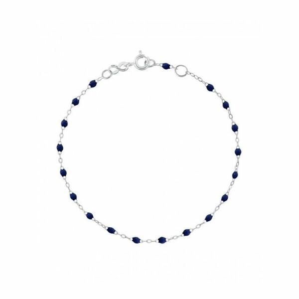 Bracelet Gigi Clozeau en or blanc, résine bleu nuit, taille 17cm