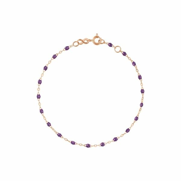 Bracelet Gigi Clozeau en or rose, résine violet, taille 17cm