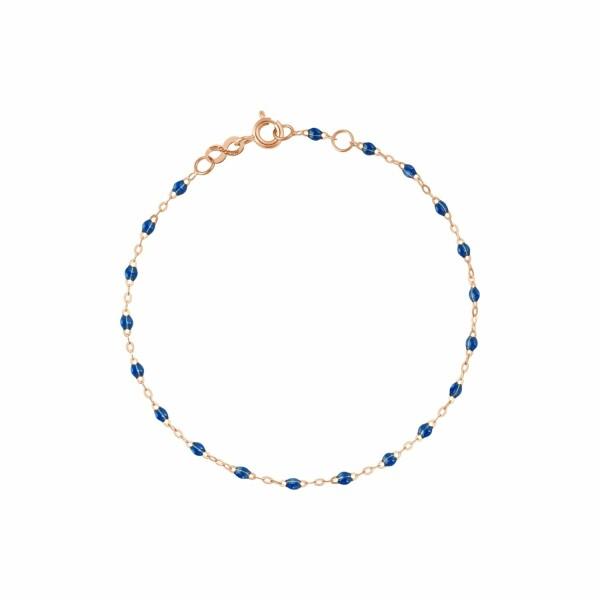 Bracelet Gigi Clozeau en or rose, résine bleu saphir navy, taille 17cm
