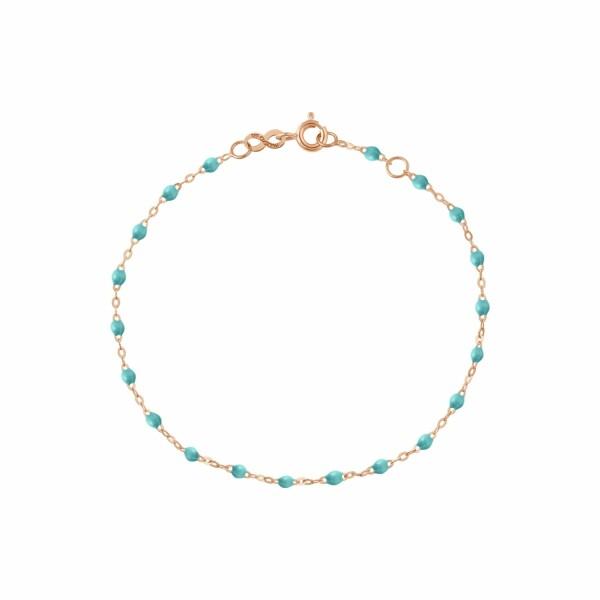 Bracelet Gigi Clozeau en or rose, résine turquoise vert, taille 17cm