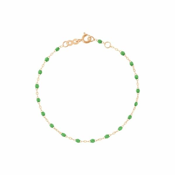 Bracelet Gigi Clozeau en or rose, résine vert prairie, taille 17cm