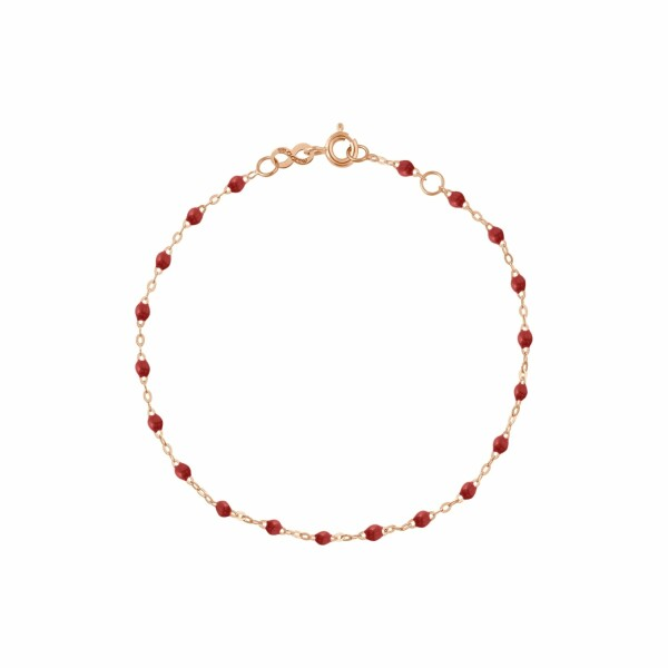 Bracelet Gigi Clozeau en or rose, résine bordeaux, taille 17cm