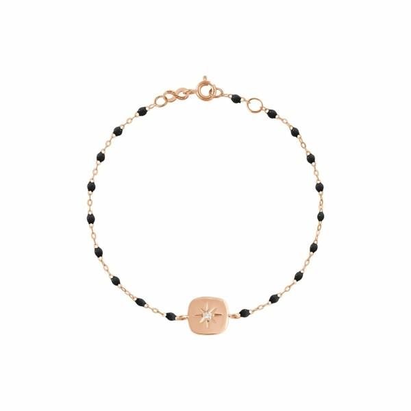 Bracelet Gigi Clozeau Miss Gigi en or rose, résine noire et diamants, taille 17cm