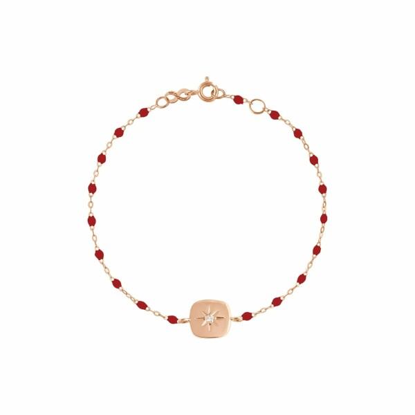 Bracelet Gigi Clozeau Miss Gigi en or rose, résine rouge rubis et diamants, taille 17cm