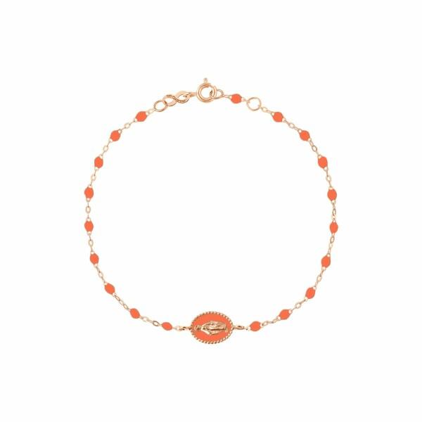 Bracelet Gigi Clozeau Madone en or rose et résine orange fluo, 17cm